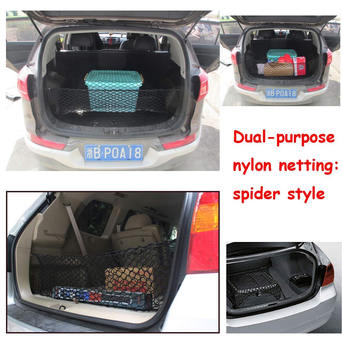 35.4 X 15.7 in Bonaweite Auto Elastic Double layer Universal Car Cargo Trunk Rear Net Storage Bag Flexible Hammock Luggage Organizer
