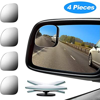 4 Pieces Fan-Shaped Automobile Rear Blind Spot Mirror, 360 Degree Rotating Design, Automobile Side Mirror Wide Angle Mirror Safety Convex Rearview Mirror Suitable for Car Truck SUV RV and Van: Automotive