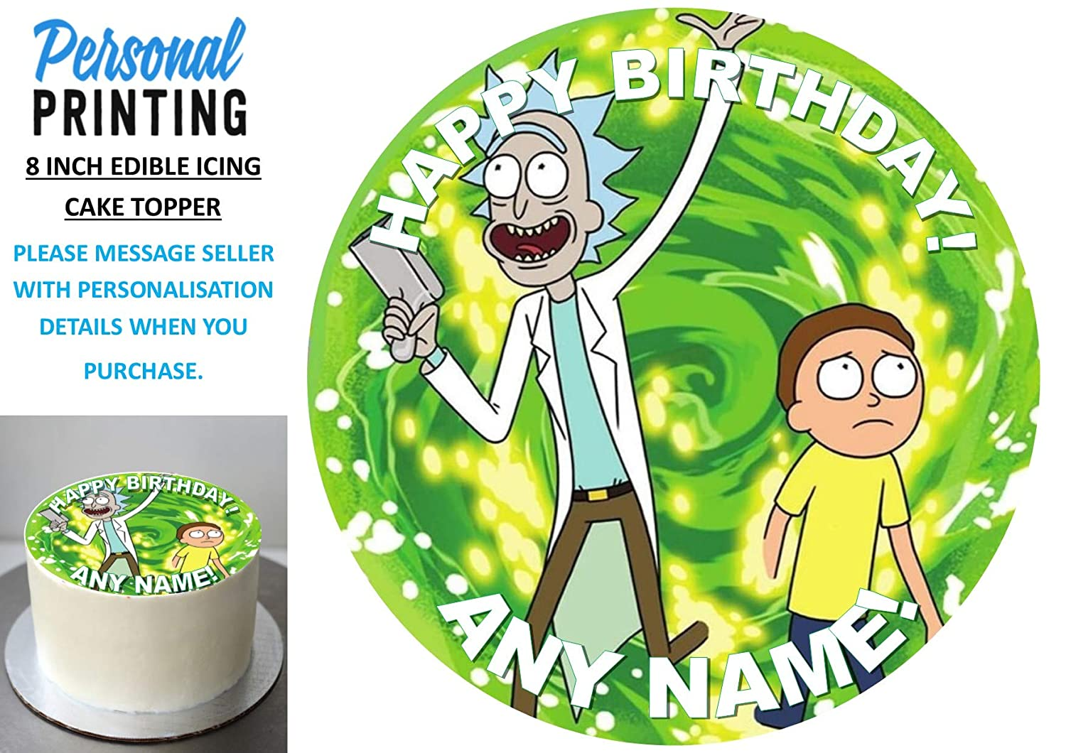 RICK AND MORTY ICING CAKE TOPPER