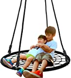 "SUPER DEAL 40'' Spider Web Tree Swing Net Swing Platform Rope Swing 71"" Detachable Nylon Rope Swivel, Max 600 Lbs, Extra…"