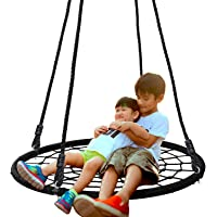 """SUPER DEAL 40'' Spider Web Tree Swing Net Swing Platform Rope Swing 71"""" Detachable Nylon Rope Swivel, Max 600 Lbs, Extra Safe and Durable, Fun for Kids"""