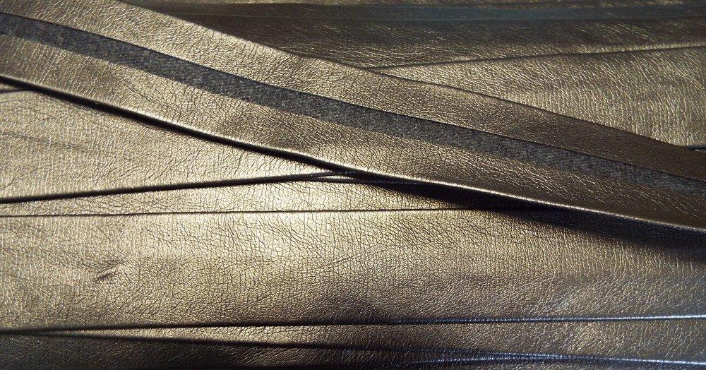 2 m Einfassband//Band aus Lederimitat//Kunstleder metallic 25 mm alt gold