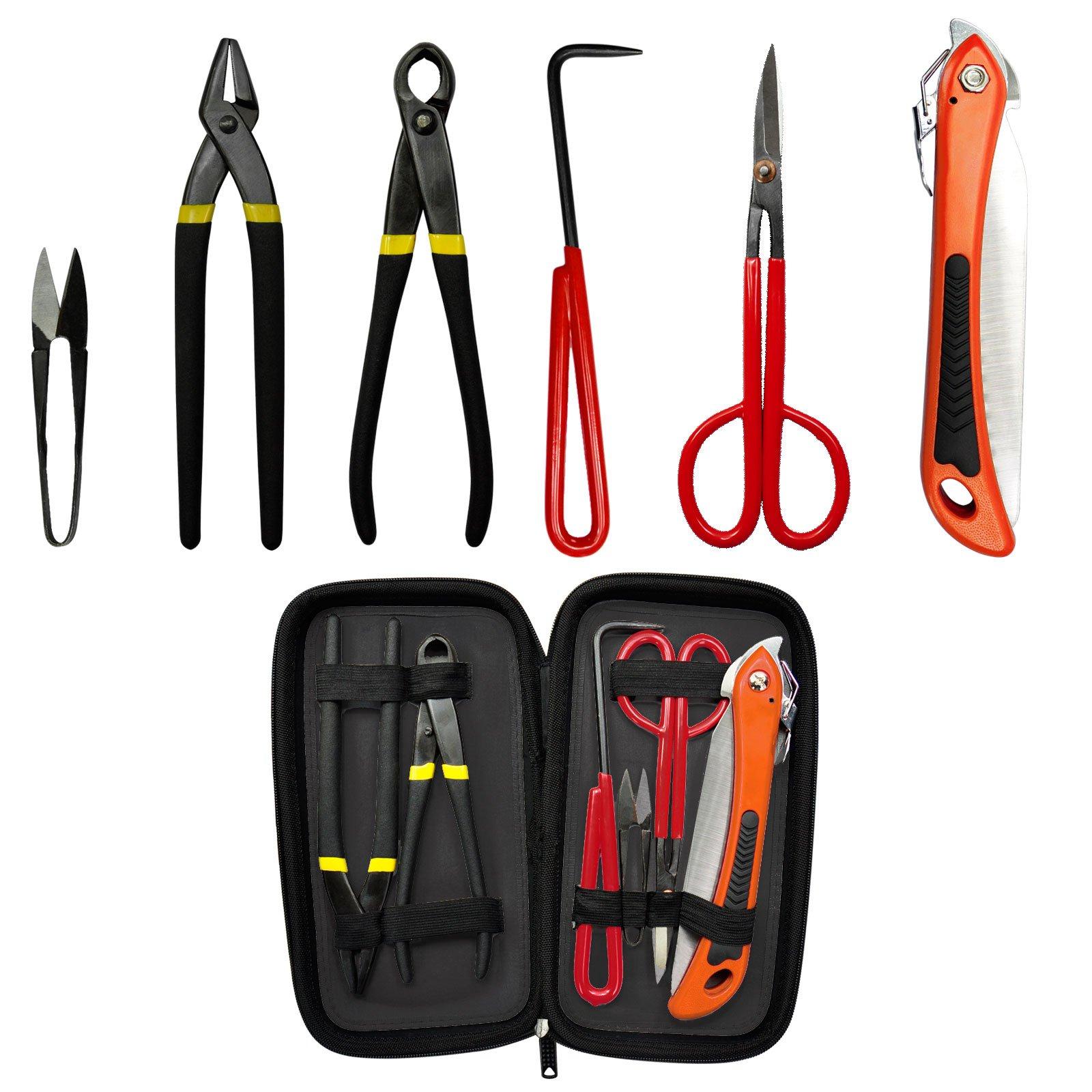 Voilamart 6 Piece Bonsai Tool Kit with Case, Carbon Steel Scissor Cutter Shear Set Garden Plant Tools