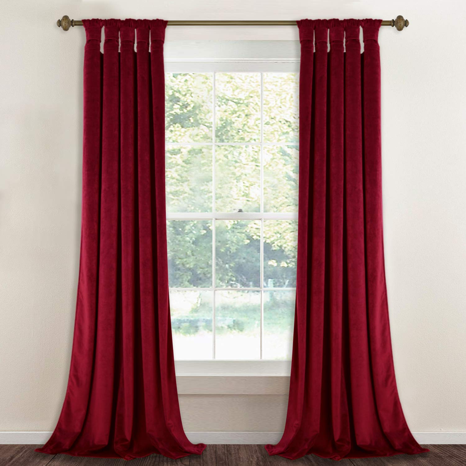 """Red Soundproof Velvet Curtains Theater - Luxurious Heavyweight Drapes with Stylish Twist Tab Light Blocking Privacy Panels for Master Bedroom/Media Room, 52"""" x 96"""", 2 Pcs"""