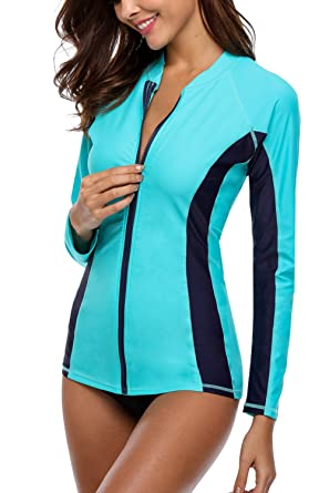 144fea2b4d4 Charmo Ladies Zipper UV Protection Rash Vest Long Sleeve Athletic Rashguard  Swimwear Tops Aqua/Navy
