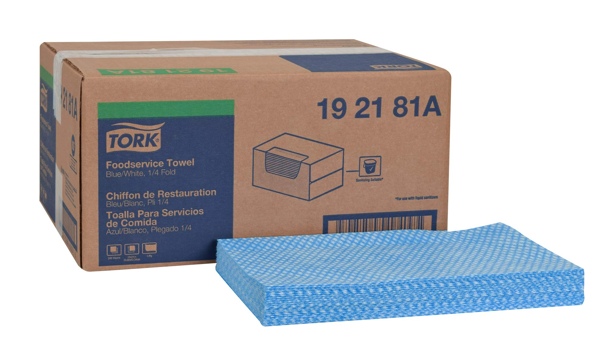 Tork 192181A Foodservice Cloth, 1/4 Fold, 1-Ply, 13'' Width x 21'' Length, Blue/White (Case of 1 Box, 240 Cloths) by Tork