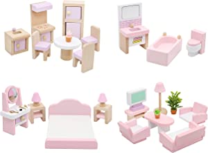 Hiawbon Wooden Classic Doll House Furniture House DIY Accessories Wood Miniature Furniture Set House Furniture Dollhouse Decoration Accessories for Christmas Birthday Gifts,Set A