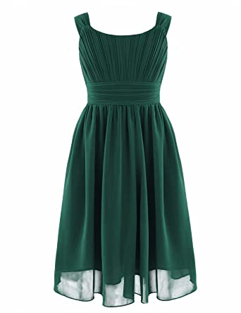 YiZYiF Girls Pleated Chiffon Flower Dress Wedding Bridesmaid Birthday Party Summer Dance Prom Dresses Green 3