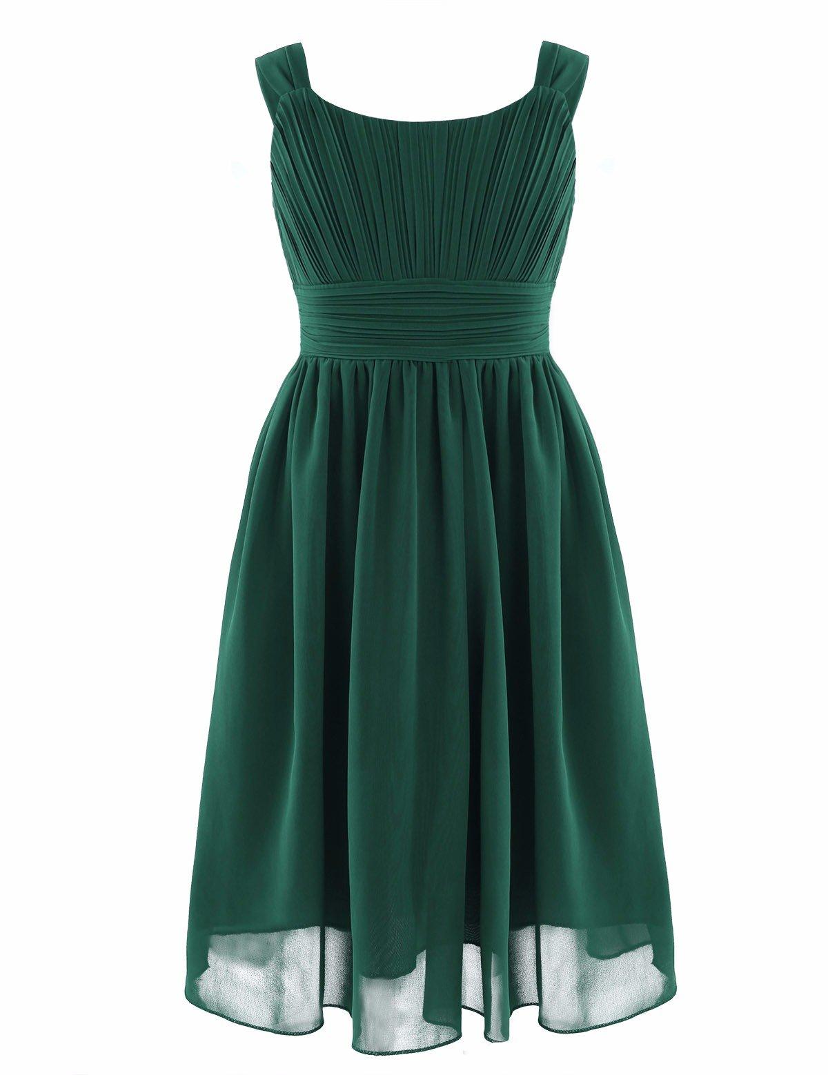2d4ccd635 YiZYiF Kids Big Girl Sleeveless Pleated Chiffon Flower Wedding Bridesmaid  Formal Party Dress Green 10