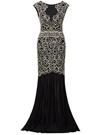f567c8eabb0 Vijiv 1920s Inspired Gatsby V Back Art Deco Beaded Maxi Evening Long Prom  Dress