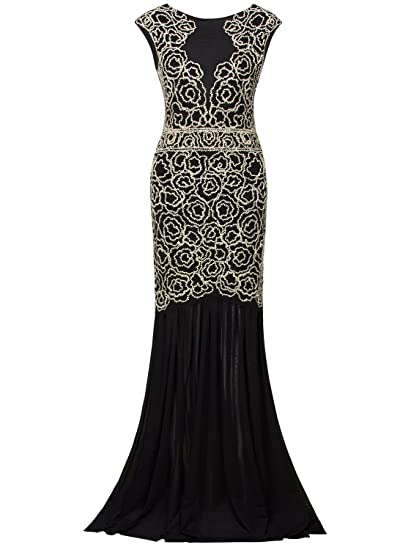Amazoncom Vijiv 1920s Long Prom Dresses V Neck Beaded Sequin