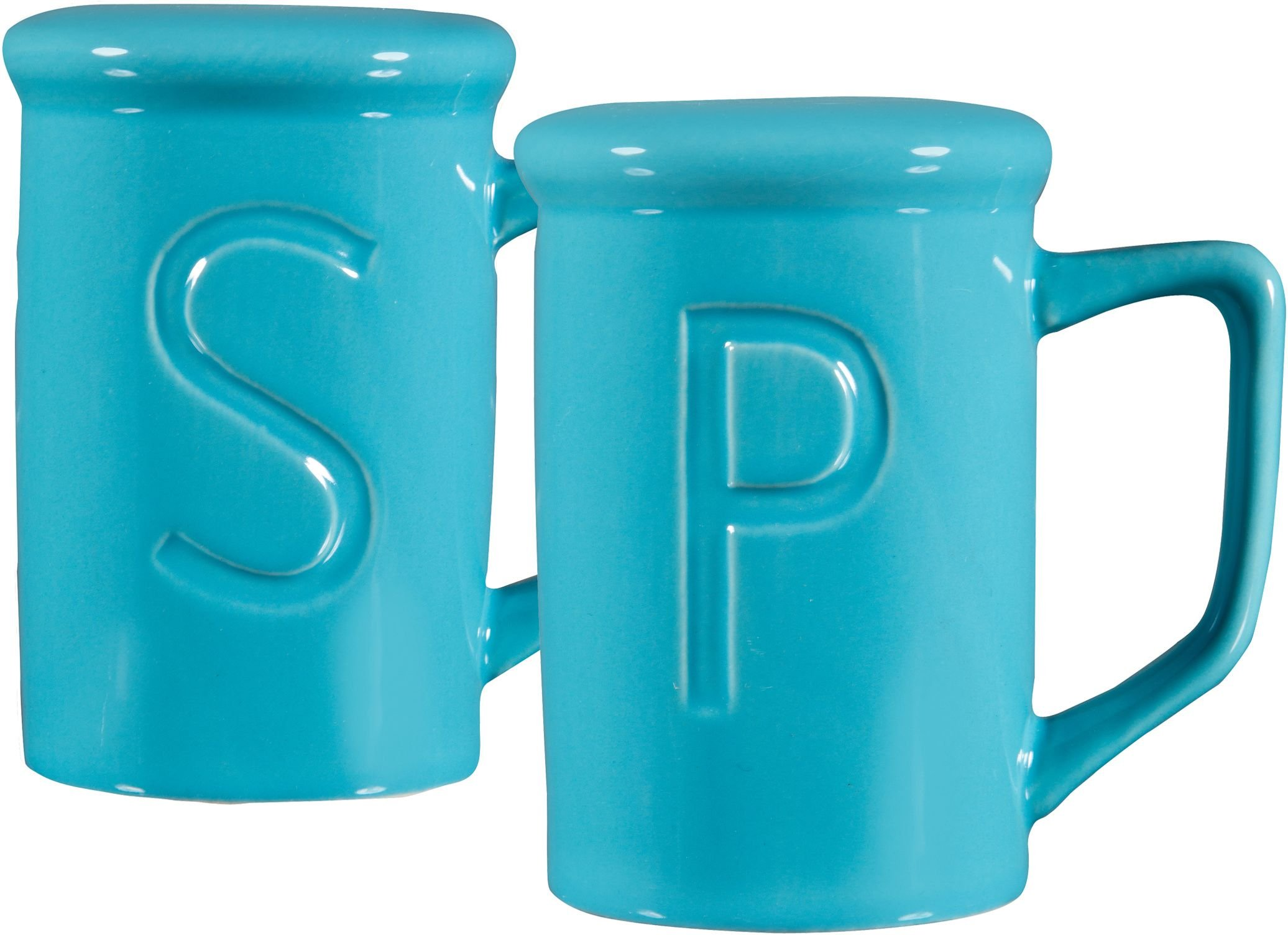 CERAMIC SALT AND PEPPER SHAKER SETS-''S'' &''P'' EMBOSSED