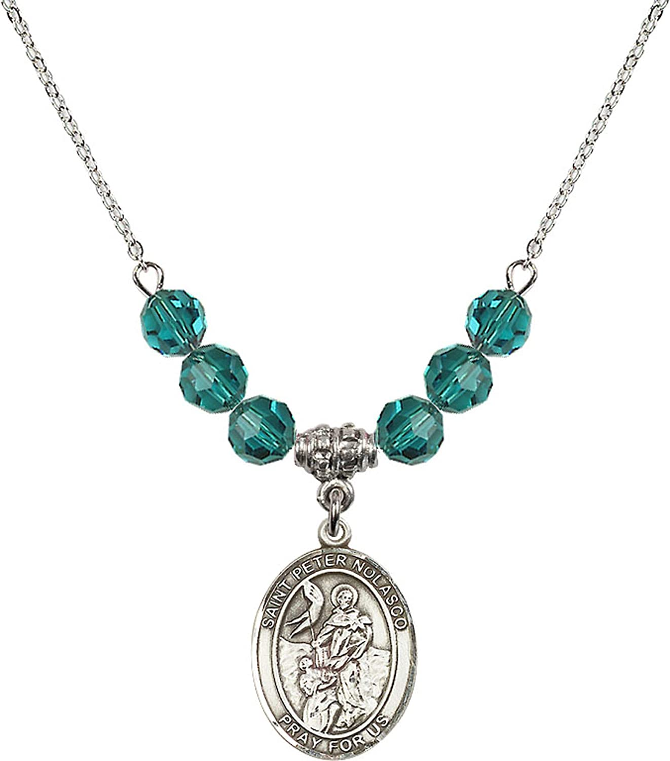 Bonyak Jewelry 18 Inch Rhodium Plated Necklace w// 6mm Blue December Birth Month Stone Beads and Saint Peter Nolasco Charm