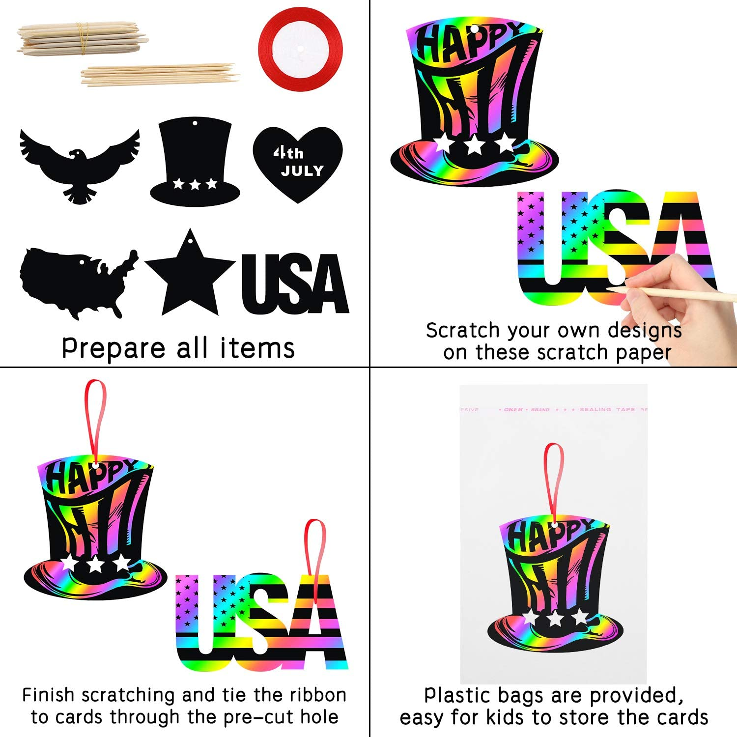Magic Art Rainbow Color DIY Craft Kit for Kids 4th of July Birthday Party Favors Independence Day Party Supplies Game for Boys Girls Patriotic Decorations WATINC 60Pcs Patriotic Scratch Paper Cards