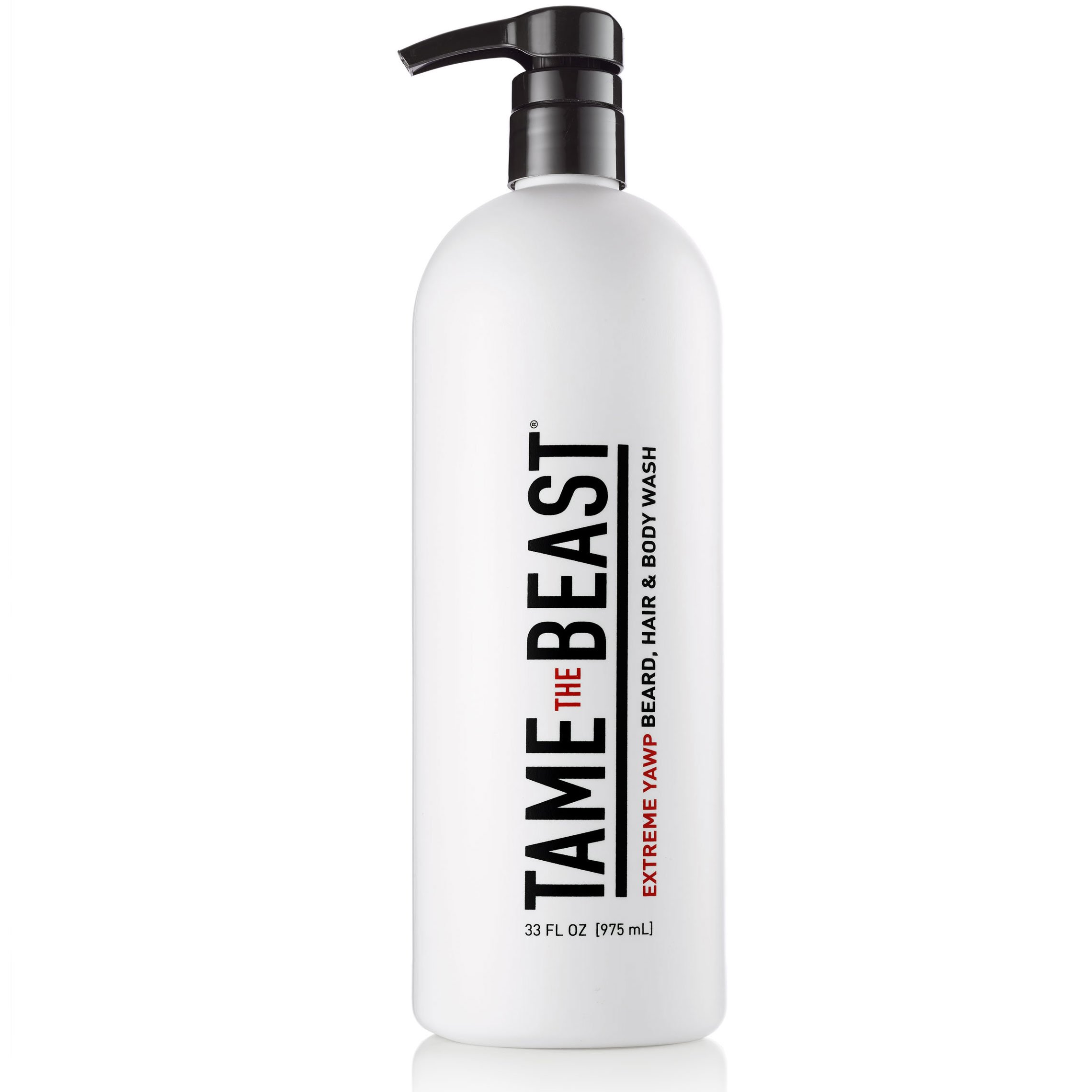 Extreme Yawp All-in-One Men's Body Wash by Tame the Beast - 33 ounce Large Liter Pump 3-in-1 Hair, Beard & Body Shampoo - Eucalyptus, Menthol, Caffeine, Green Tea, Vitamins A C & E