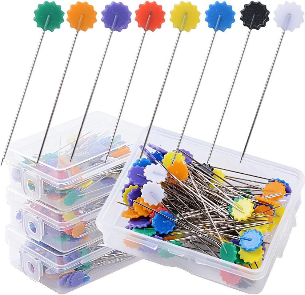 400pcs Alfileres Cabeza Plana forma Flor Agujas Colores para Acolchado Costura Tejer Coser (4 Cajas*100pcs)