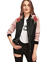 Floerns Women's Casual Short Embroidered Floral Bomber Jacket