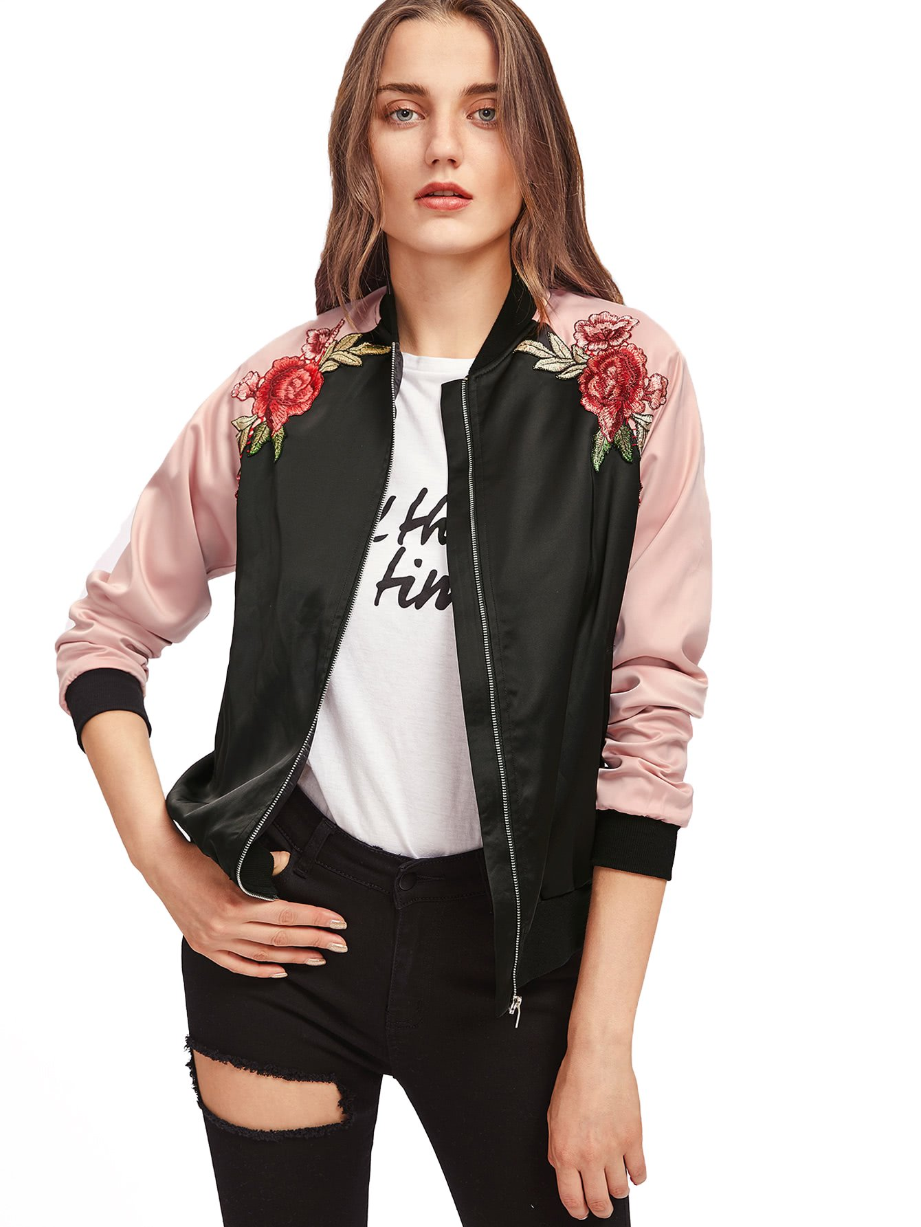 Floerns Women's Casual Short Embroidered Floral Bomber Jacket Black Pink M by Floerns
