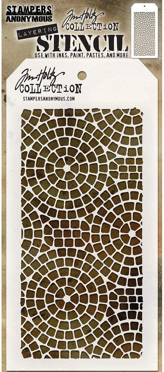 Art Gone Wild Tim Holtz Mosaic Stencil Transparent 28.4 x 11.4 x 0.1 cm
