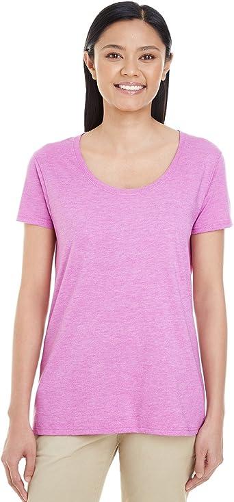 Gildan Womens Softstyle New T Shirt Cotton Top Deep Scoop Neck Soft Ladies Tee