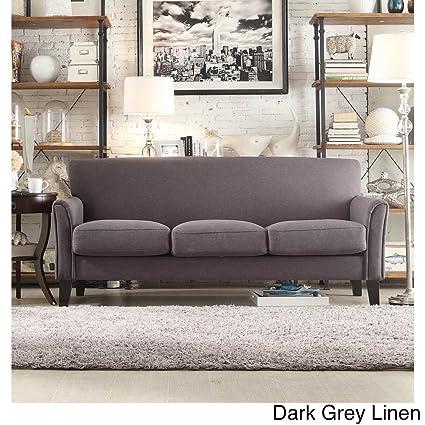 amazon com home uptown modern sofa suede dark grey linen home rh amazon com