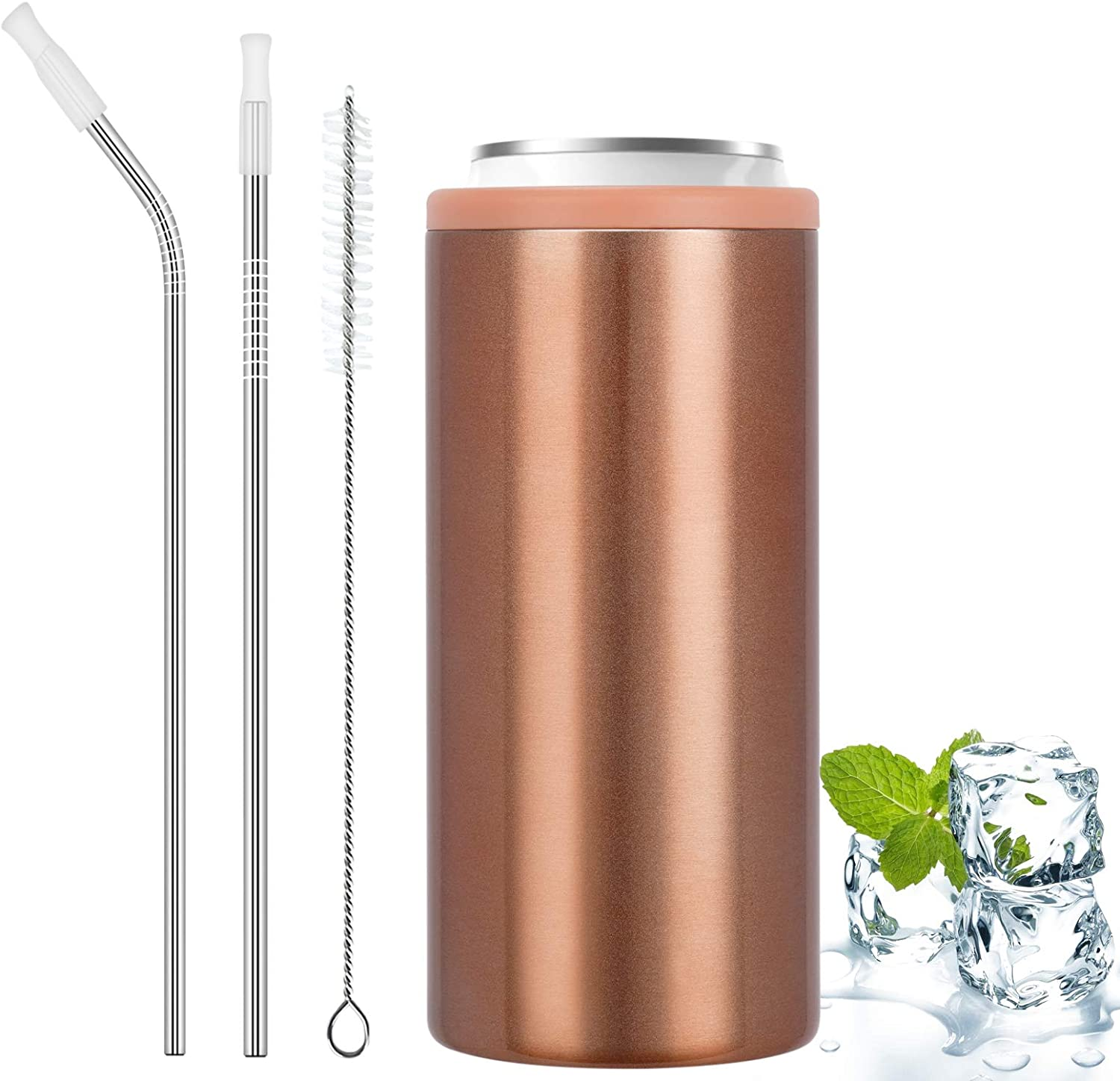 Slim Can Cooler with Straw, Insulated Skinny Can Coozie for 12 Oz Slim Beer Cans, Stainless Steel Double-walled Skinny Can Coozie for Beer, Soda, Cold Beverage, Energy Drinks (Glitter Rose Gold)