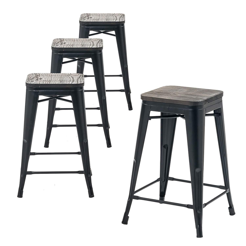 Buschman Store Wooden Seat, Counter Height Metal Bar Stools, Indoor Outdoor, Stackable, 24 H, Matte Black, Set of 4