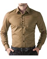 Being Fab Men's Solid Casual Brown Shirt