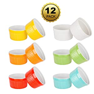 6 Ounce Porcelain Souffle Dishes, Ramekins For Baking, Creme Brulee Dishes, Ceramic Pudding Cup For Jams, Ice Cream and Desserts, Six Colours, Set of 12