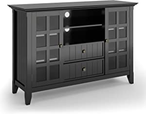 SIMPLIHOME Acadian SOLID WOOD Universal Tall TV Media Stand, 53 inch Wide, Farmhouse Rustic, Storage Shelves and Cabinets with Glass Doors, for Flat Screen TVs up to 60 inches, Black