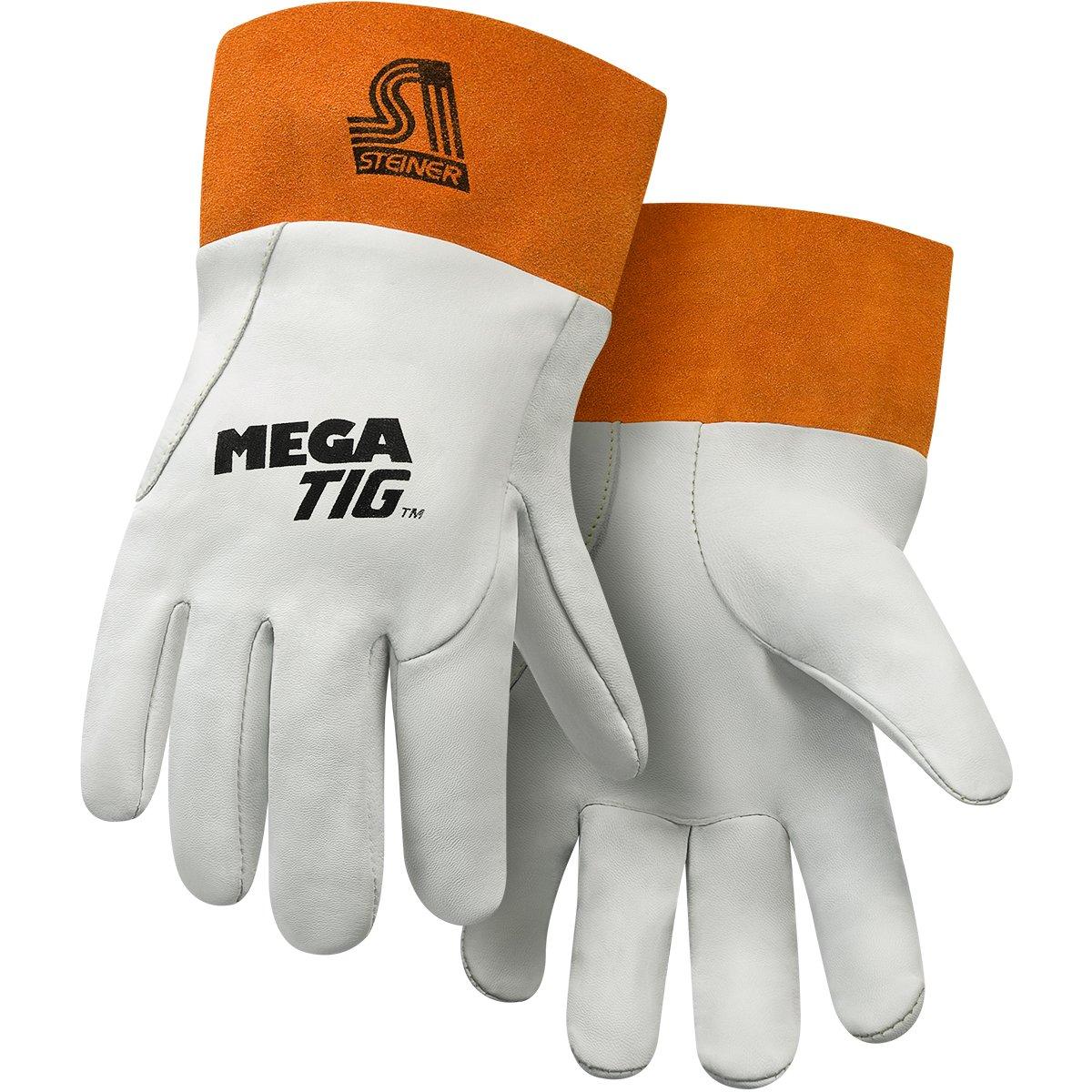 Grain Kidskin Foam Back Unlined Palm 2-Inch Cuff Steiner 0231-L Mega TIG Gloves Large