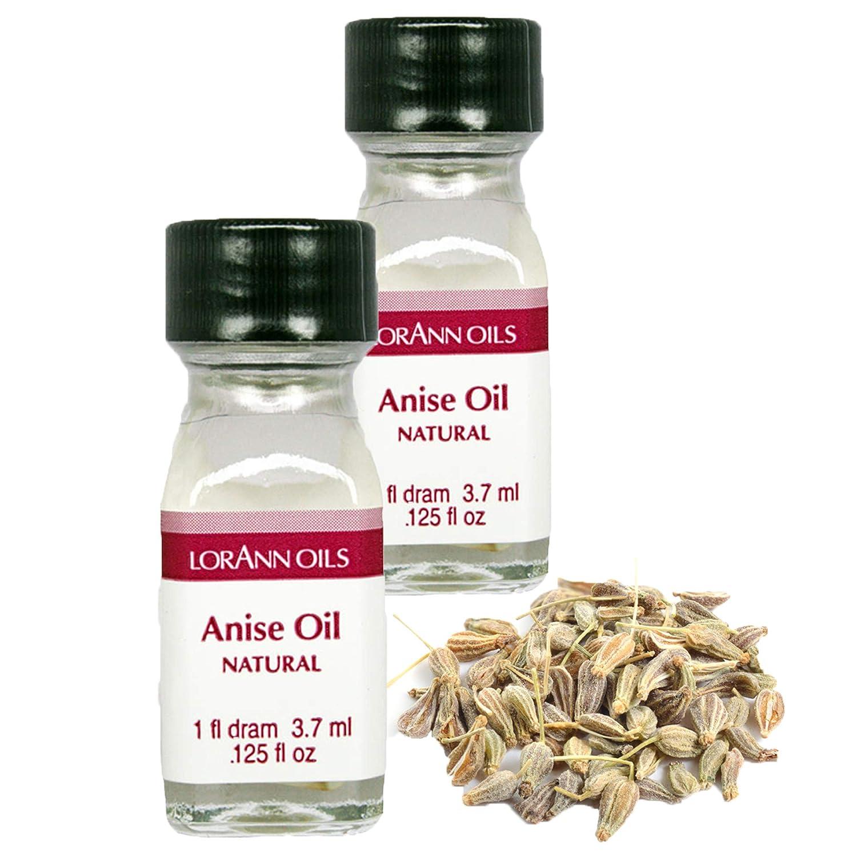 LorAnn Super Strength Anise Oil, Natural Flavor, 1 dram bottle (.0125 fl oz 3.7 ml) - 2 pack