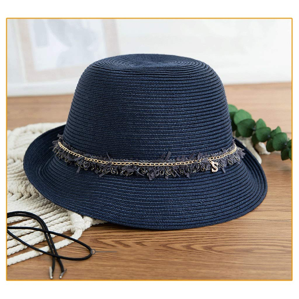 bluee ZHANGHAIMING UPF + 50 Fisherman's Hat, Women's Summer Adjustable Straw Hat Elegant Casual Sun Hat Foldable 4 colors (color   White)