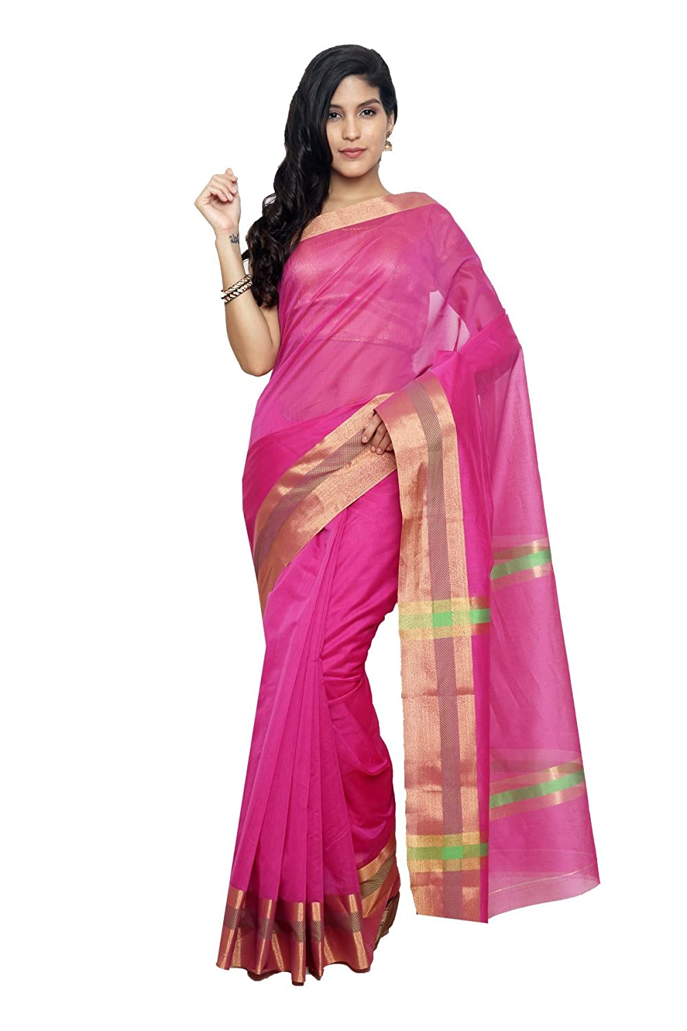 DOUBLE COLOR CONTRAST COTTON SAREE-Red-AJS361-MN-Cotton Sudarshan Silks SP_AJS294