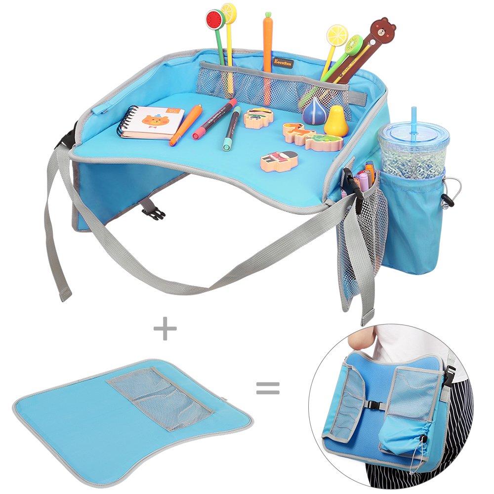 Kinder Knietablett Reisetisch EocuSun Play Tray Spiel und Esstisch Spieltisch Autositz Tisch für Reisen, Buggys, Kinderwagen, Auto, kfz, Flugzeug, Bahn, Cafe , Blau EcouSun