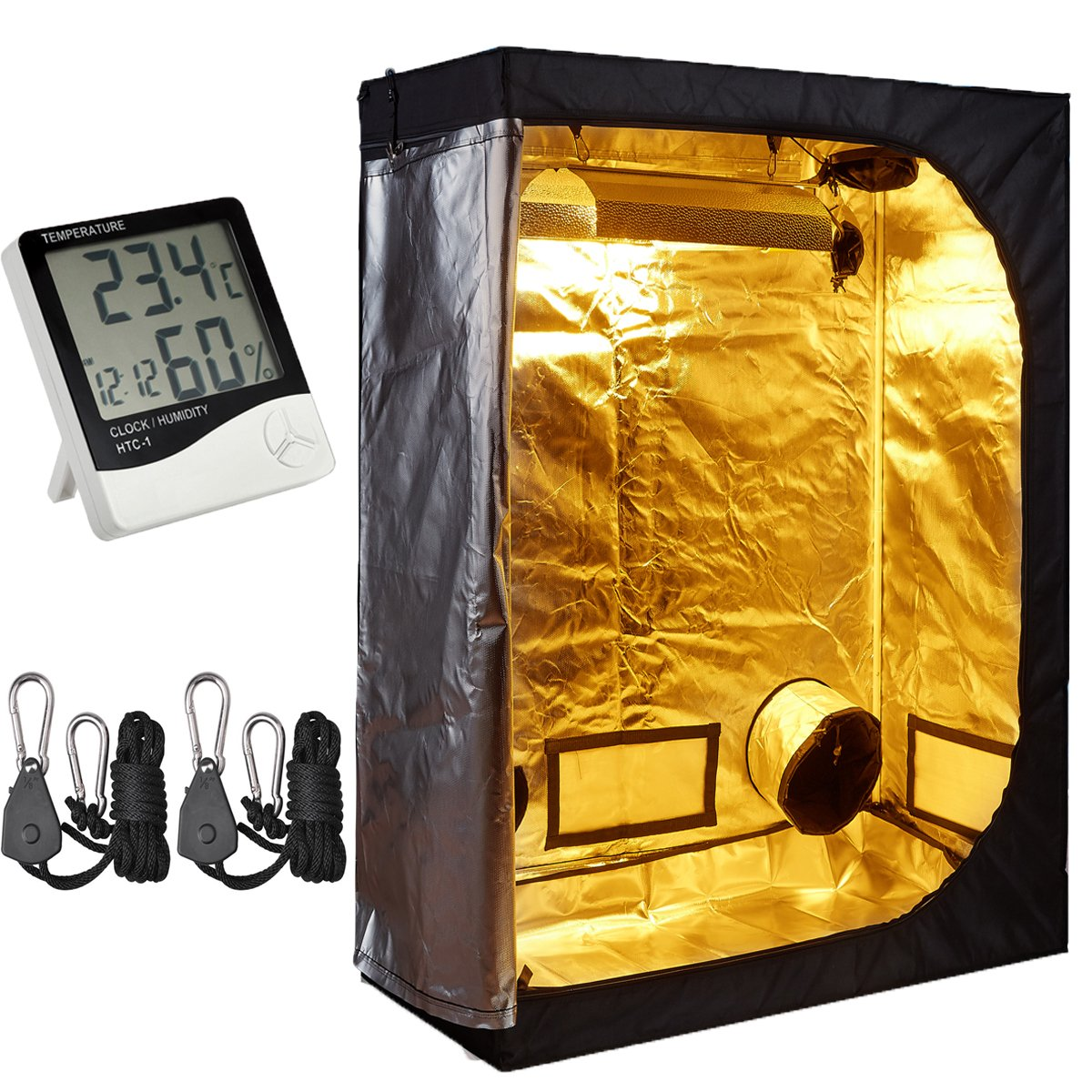 TopoLite 48''x24''x60'' Grow Tent + 1 Pair Light Hangers + 1 Pcs Hygrometer Thermometer for Indoor Garden Growing Room Hydroponic System (48''x24''x60'' Kit)