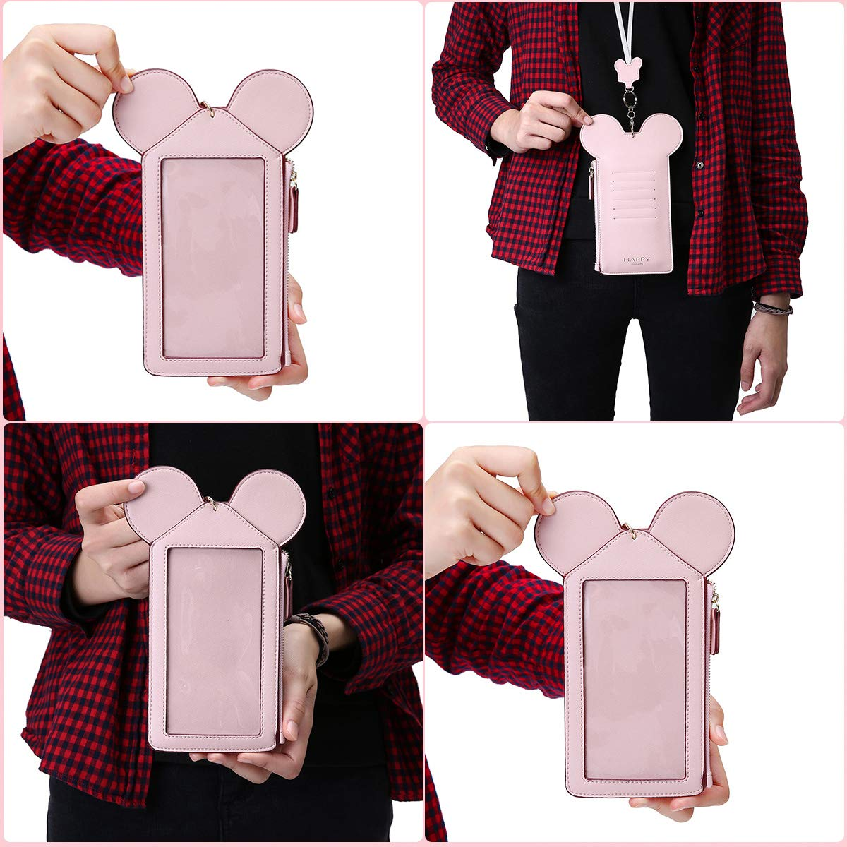 Neck Pouch, Charminer Women Cute Animal Shape Lanyard Phone Purse Neck Bag Travel Documents, Card Holder Coin Purse Neck Bag for 4.7/5.5in Phones Light Pink 4.7in by CHARMINER (Image #8)
