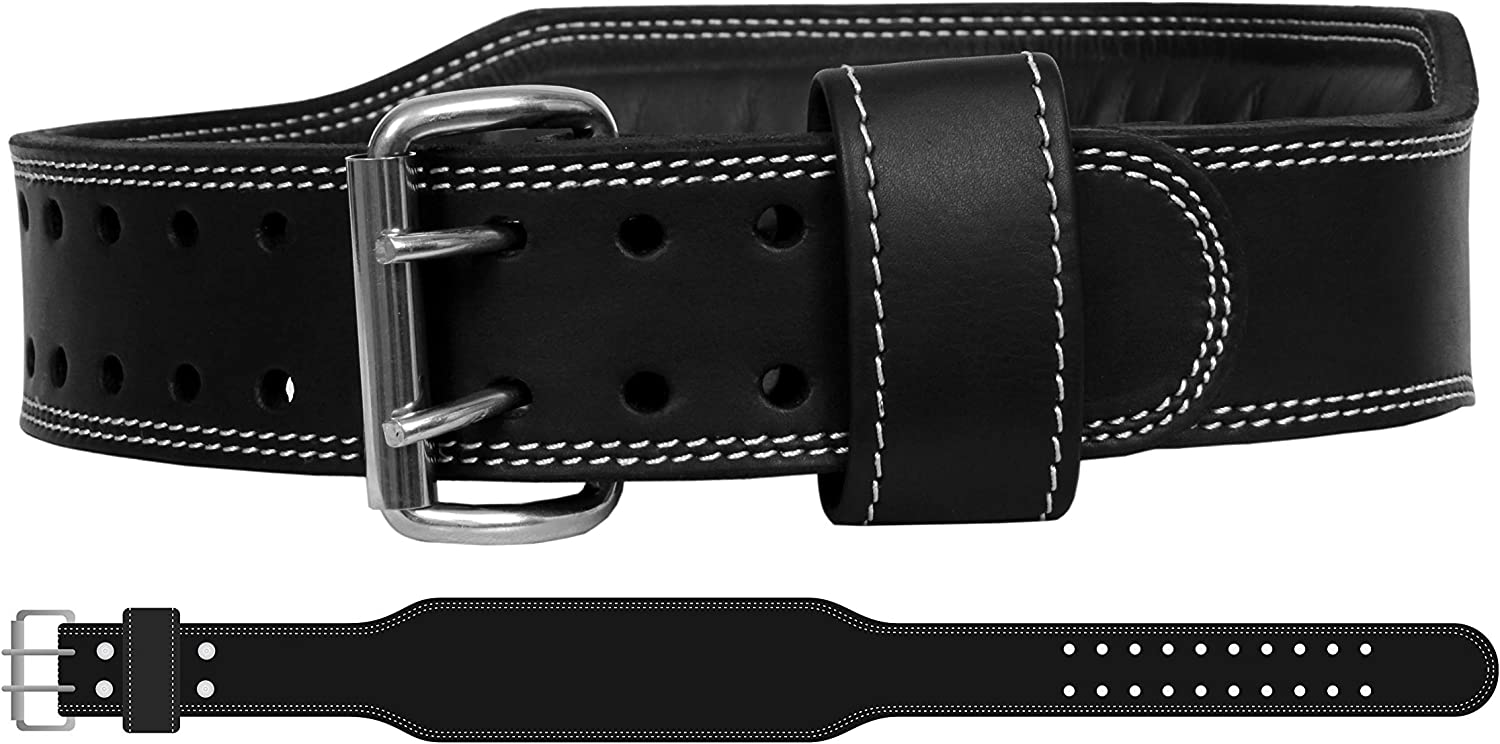 Mohammed Taveen Genuine Leather Workout Belt for Men Women Double Prong Weightlifting Cross Training Lower Back Lumbar Support for Squats, Dead Lifts, Gym Workout