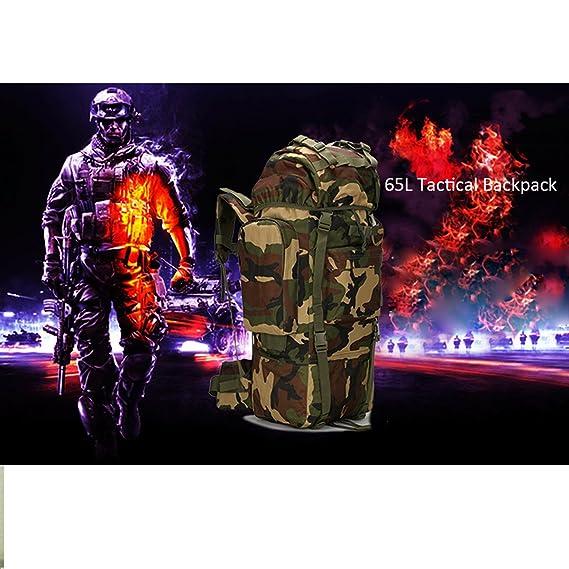 Jiele 65L Sac /à dos Sac /à dos de randonn/ée tactique militaire Assault Pack Sac /à dos /étanche avec housse de pluie pour le camping Trekking Chasse Voyage Camouflage