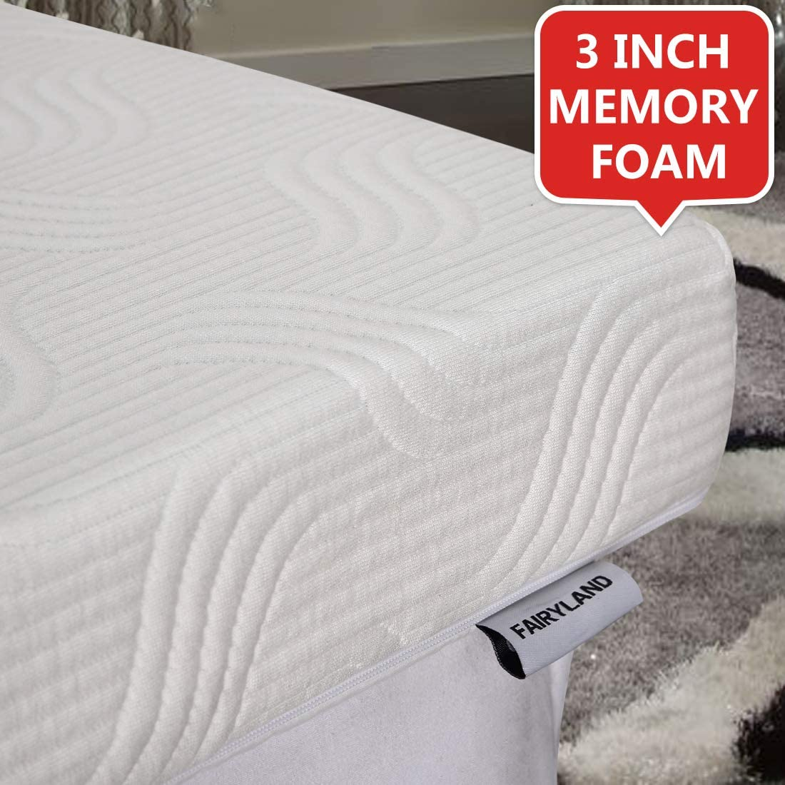 FAIRYLAND 3 Inch Memory Foam Mattress Topper Full Size, Cooling Relieving Mattress Pad for Bed with Bamboo Fiber Cover