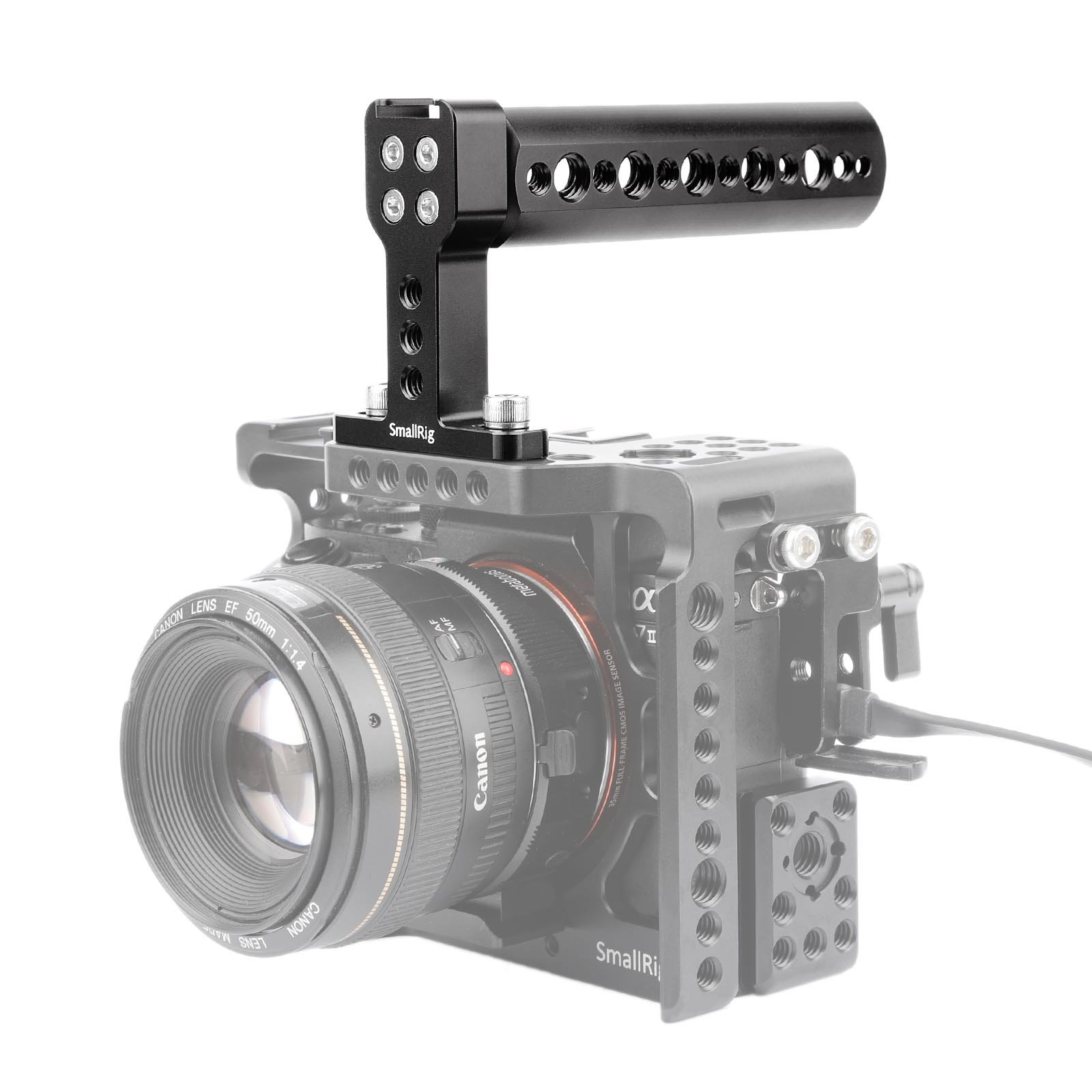 SmallRig Top Handle with 1/4'' 3/8'' Mounting Holes and Cold Shoe for Video Camera Cage, Microphone Mount, LED Light, Monitor Mount - 1638