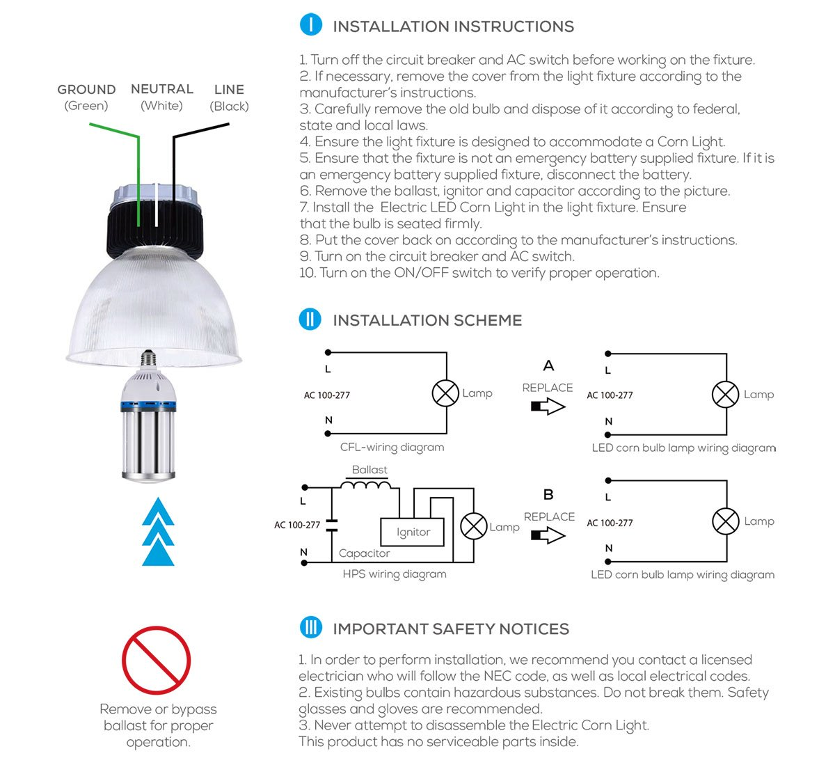 Gianor 30w Led Corn Bulb E26 E27 Medium Base Garage Bulbs Pro Wiring Diagram Replace Metal Halide 6000k Daywhite For Street Factory Warehouse High