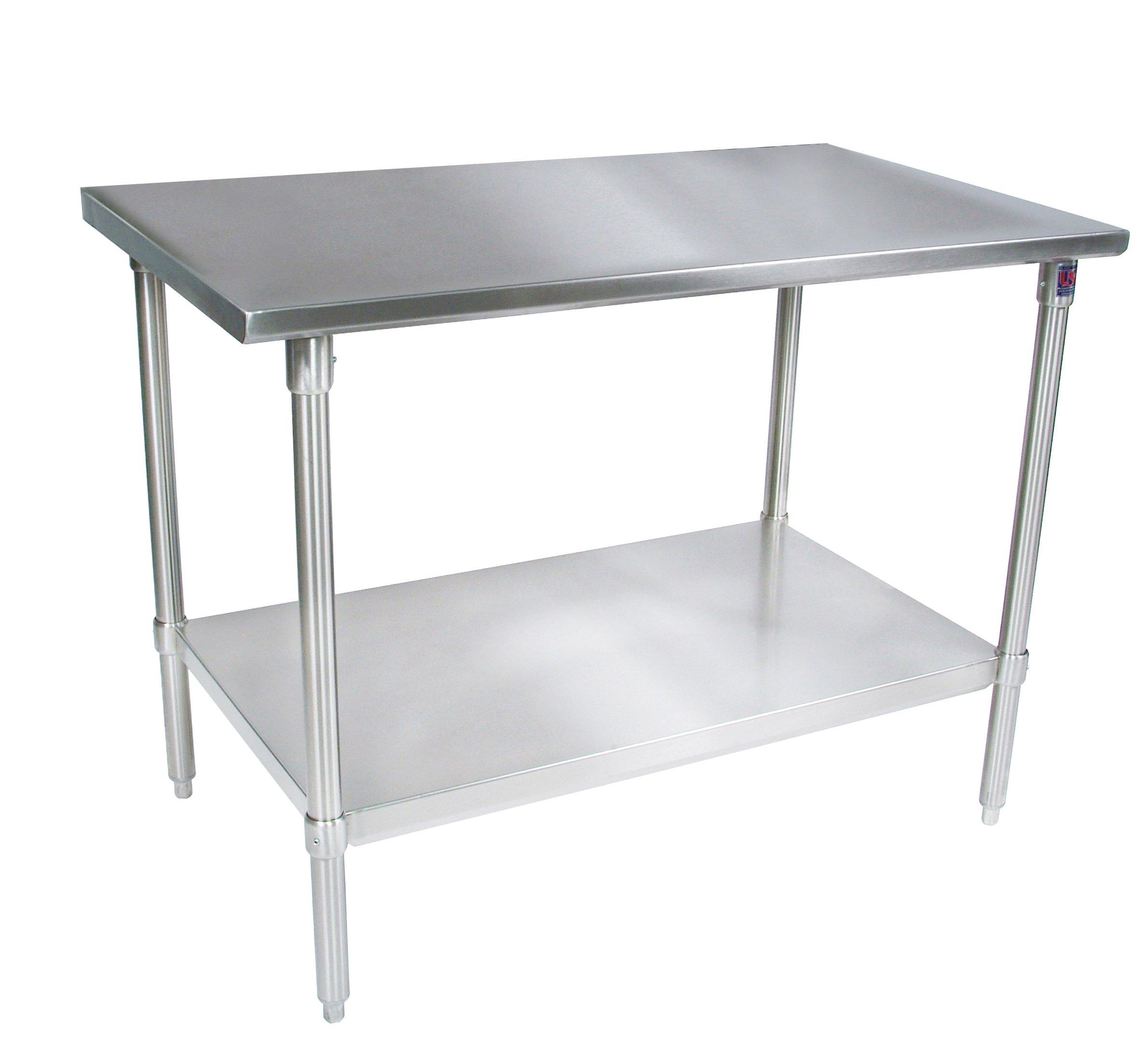 John Boos ST6-3072GSK Stainless Steel Stallion Work Table with Lower Shelf, Adjustable Galvanized Legs, Flat Top, 72'' Length x 30'' Width