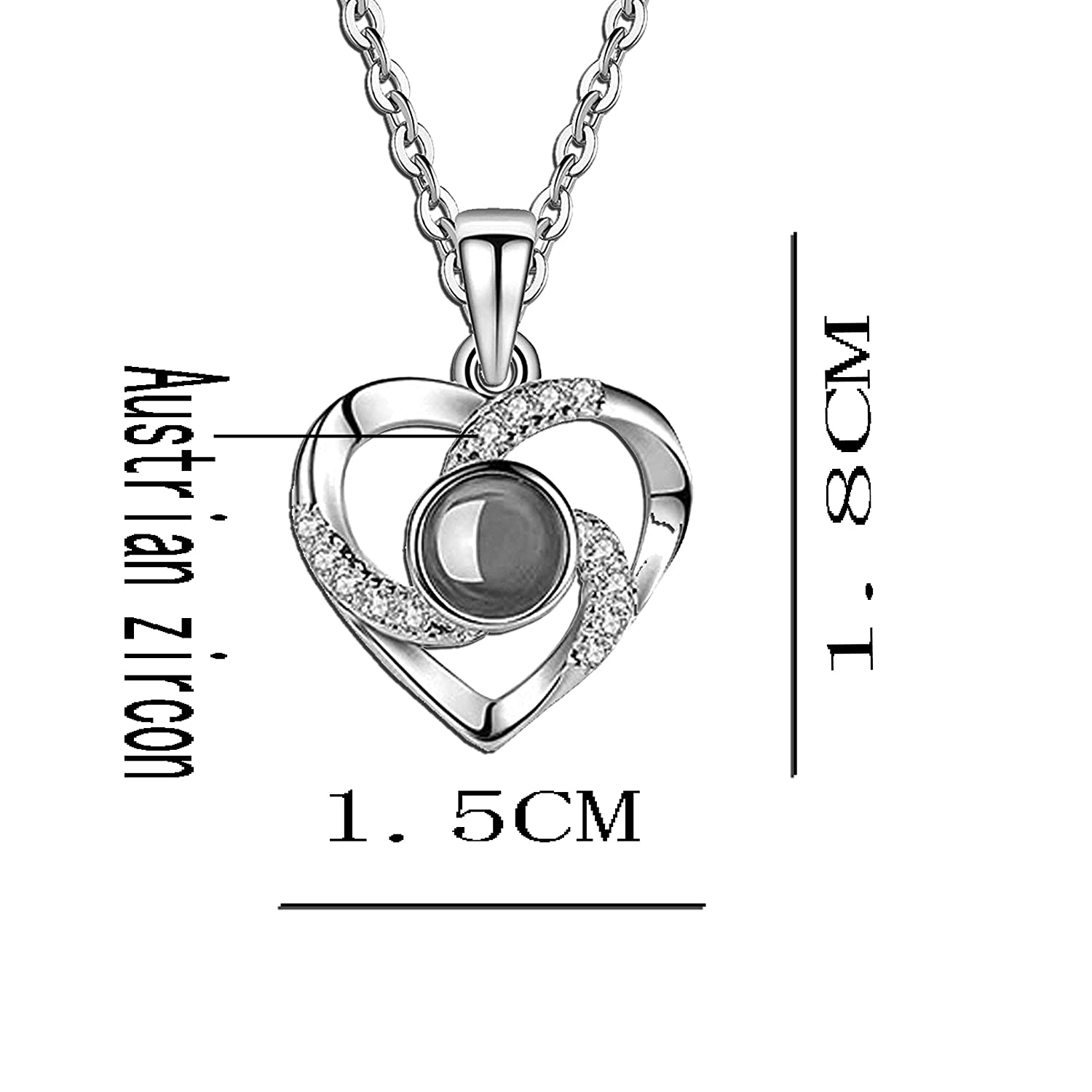 Hantaostyle I Love You Necklace 925 Silver 100 Languages Projection on Round Onyx Pendant Loving Memory Collarbone Necklace