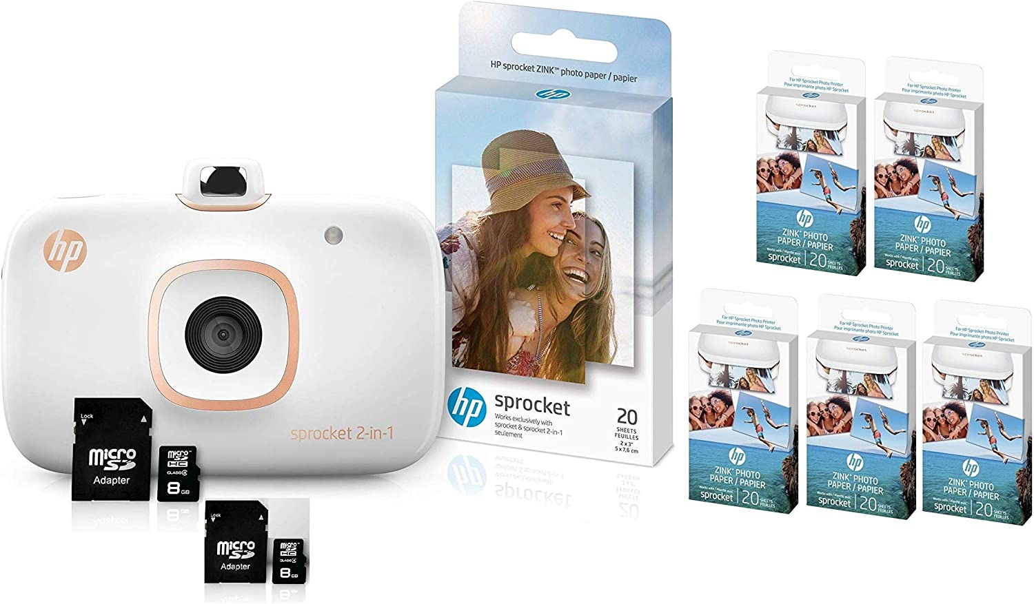 HP Sprocket 2-in-1 Portable Photo Printer & Instant Camera Bundle with Two: 8GB MicroSD Cards & Zink Photo Paper Bundle (120 Sheets, White)