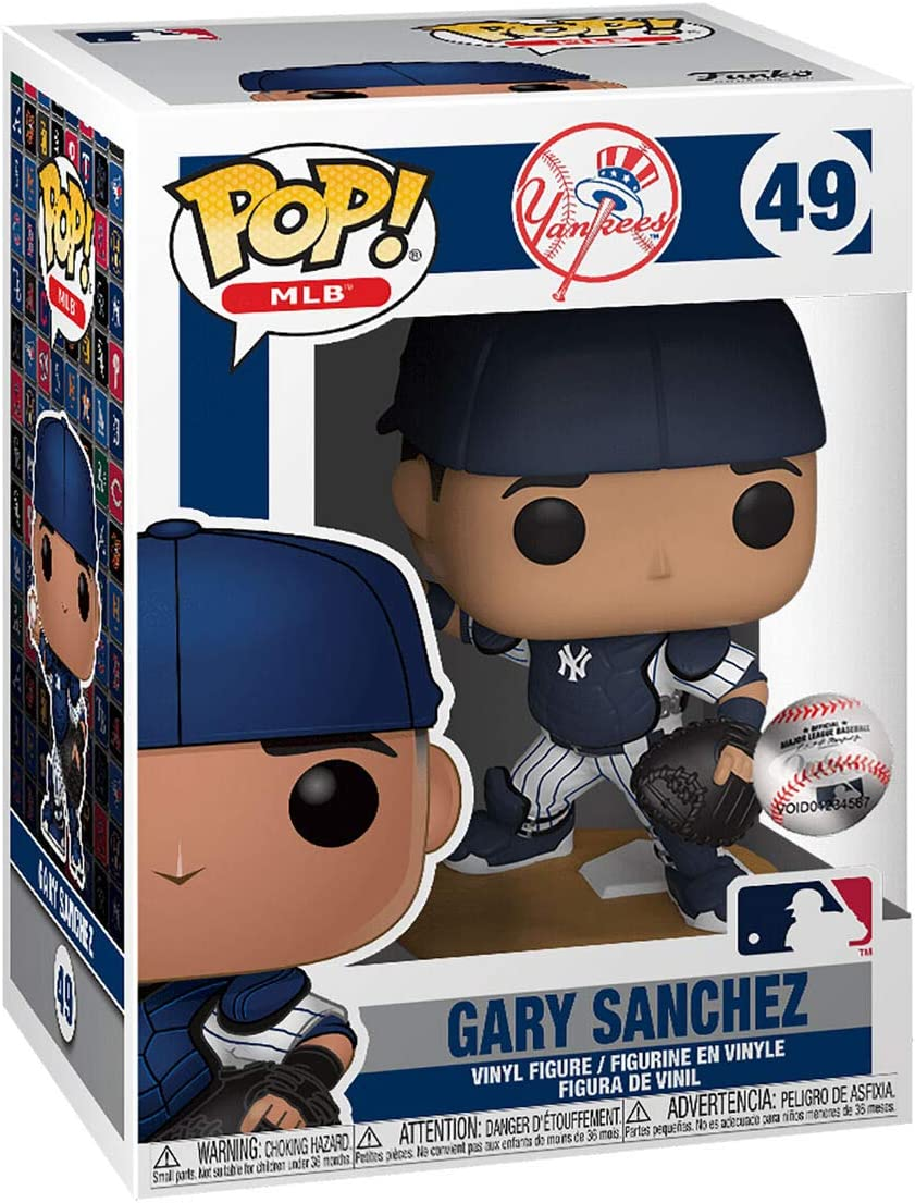 Gary Sanchez New York Yankees with Catcher Gear #49 Pop Sports Action Figure Bundled with EcoTek Pop Protector to Protect Display Box