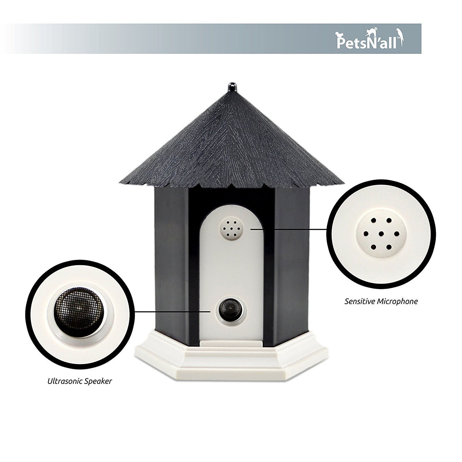 PetsN'all Upgraded Ultrasonic Outdoor Dog Bark Controller in Anti-Bark Training Birdhouse Shape by PetsN'all
