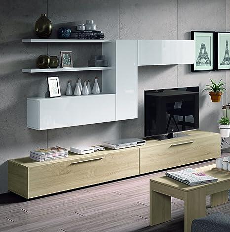 Abitti Mueble Salon Comedor TV 260x42x32cm. Color Roble Canadian y Blanco Brillo.