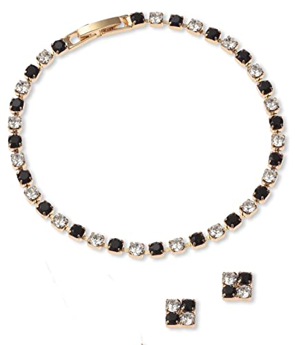 fe5ee9c2c Crystal & Jet Bracelet & Earring Set - Gold Finish - Swarovski Crystal -  Black Bracelet Set - Jewellery Gift Set - Ladies Gifts: LJ Designs and Oaks  ...