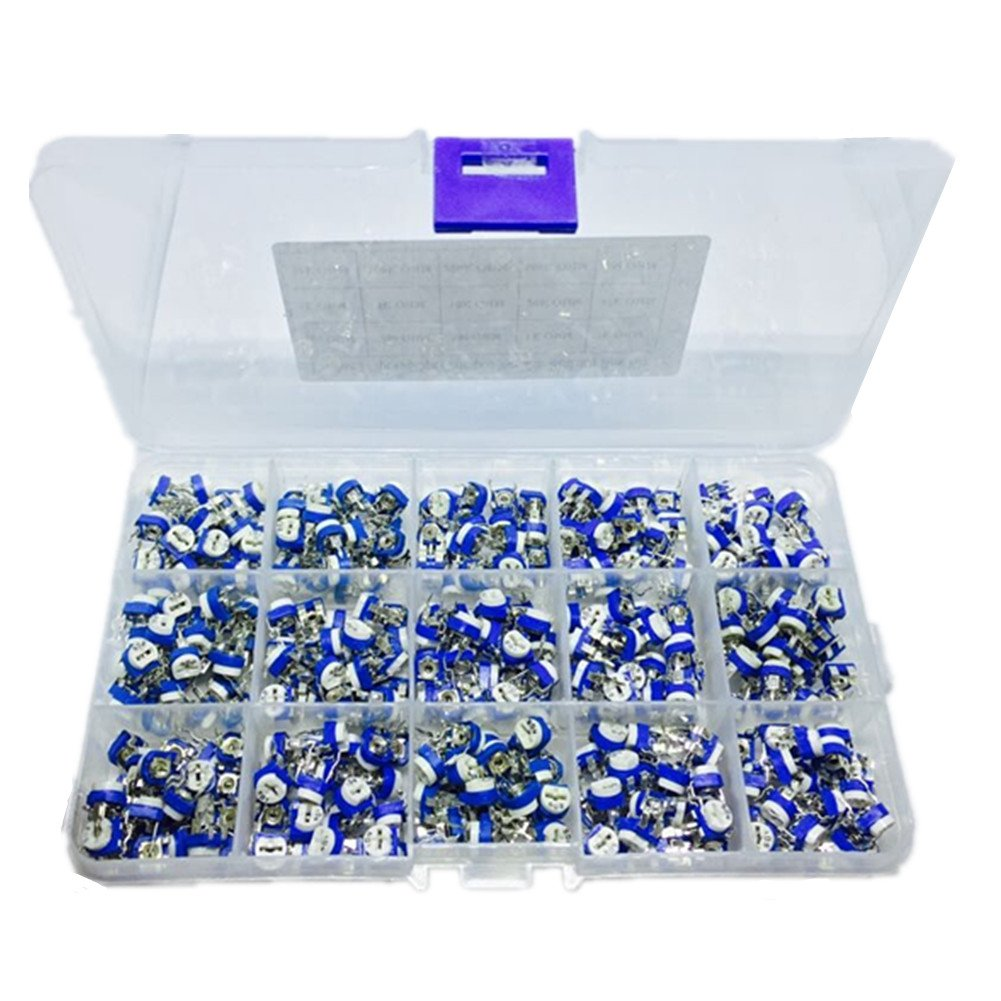 Ltvystore Carbon Film Horizontal Trimpot Pot Potentiometer Assortment Kit 15 Values 375PCS Range 100 ohm to 1M ohm Each 25pcs,Variable Resistor with Clear Plastic Box and A Lable Marked Resistance